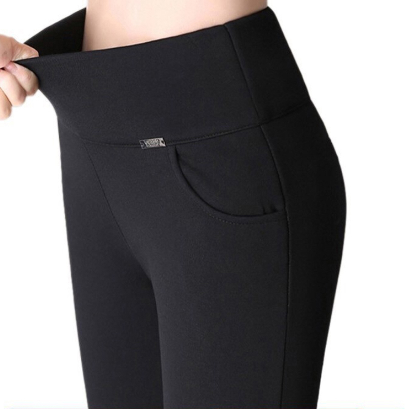 S-4XL Women Pants Fashion Solid Slim High Waist Long Trousers Pencil Trousers Fall Pocket Pants Women Ladies Pants Femme