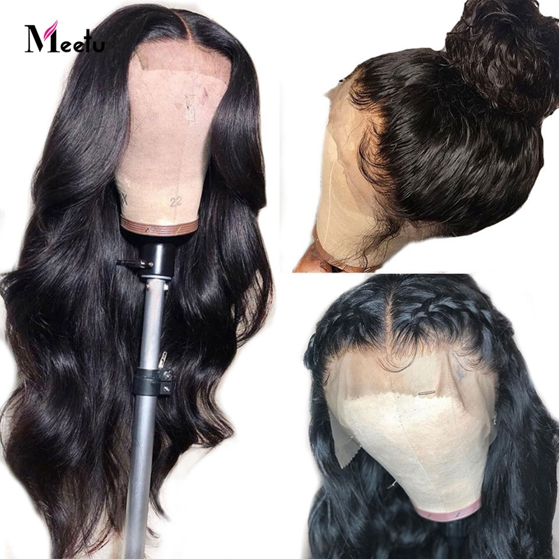 Meetu Lace Closure Human Hair Wigs For Women 4x4 Closure Lace Wigs Remy Malaysian Hair Body Wave Wig With Baby Hair Pre Plucked