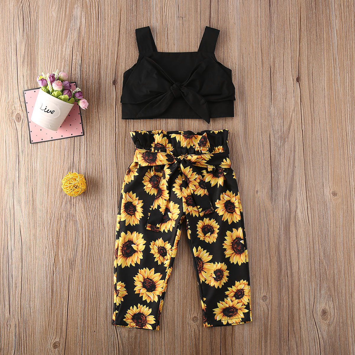 Emmababy Toddler Baby Girl Clothes Solid Color Sling Crop Tops Sunflower Print Long Pants 2Pcs Outfits Sunsuit Clothes Summer