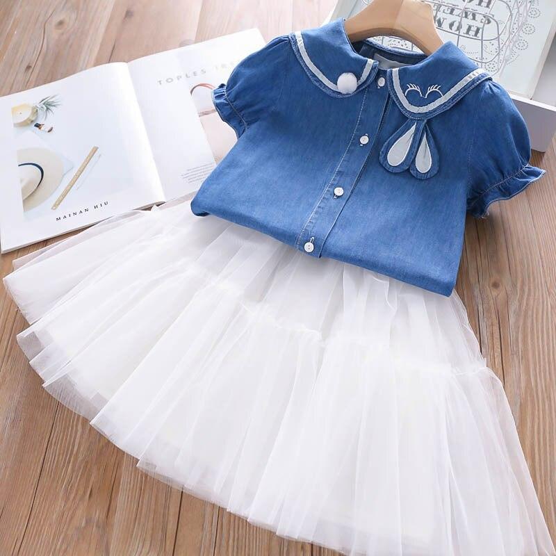 youeneom Baby Girl Cartoon Denim Print Sleeveless Tops+Skirt Knee-Length Tutu Party Outfit Set Clothing Set