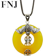 FNJ 925 Silver Bat Coins Pendant Original Pure S925 Thai Silver Pendants for Jewelry Making Women Yellow Green Agate Stone(China)