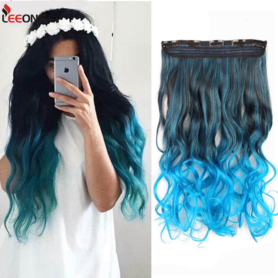 leeons fashion 5clips in hair long wave synthetic clip in hair extensions for women hair clips fake hairpiece curly wavy hairs