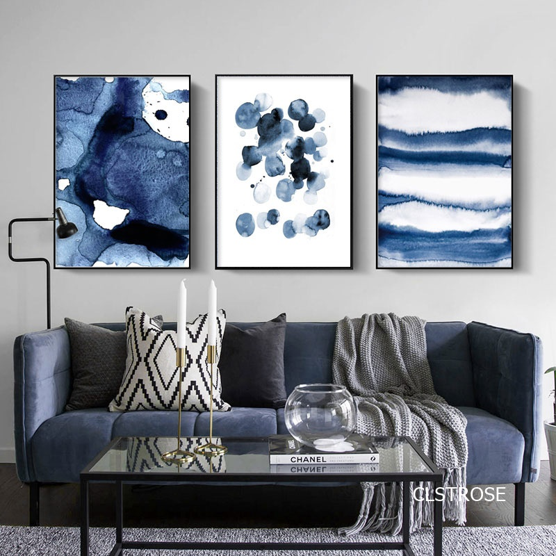 Nordic Modern Abstract Geometric Style Graphics Blue Spots Posters Art Canvas Pictures For Living Room Bedroom Decor Unframed