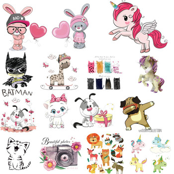 Iron on Patches Cute Cool Animal Unicorn Thermo Transfer for Clothes Stickers Letter Badges Washable DIY T-shirt Batman Print R image