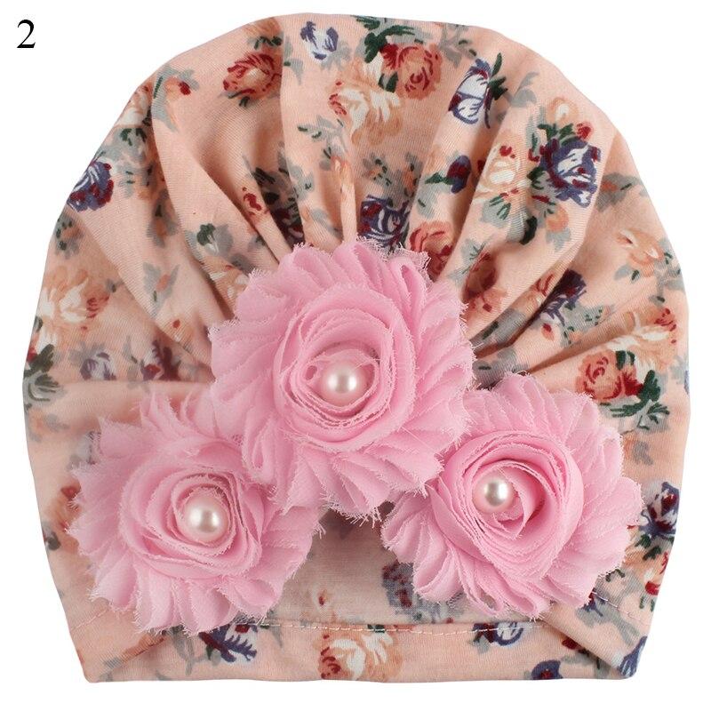 Autumn Winter Soft Cute Newborn Baby Flower Pearl Design Girls Caps Infant Hat Turban Elastic Cap