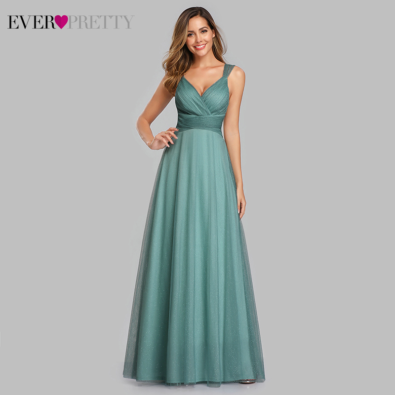 Spakle Prom Dresses Long Ever Pretty A-Line V-Neck Ruched Elegant Cheap Tulle Evening Party Gowns Vestidos Largos Fiesta 2020