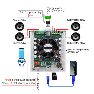Image 3 - AIYIMA Bluetooth 5.0 TDA7850H Amplifier 50Wx4 Class AB 4 Channel Output Car Amplifier Board For Audio Sound Speaker DIY