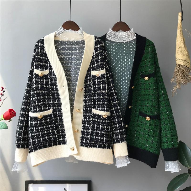 Woman Korean Elegant Knit Cardigan Autumn Winter Plaid Coat Woman Sweater Long Sleeve 2019 Women Sweater