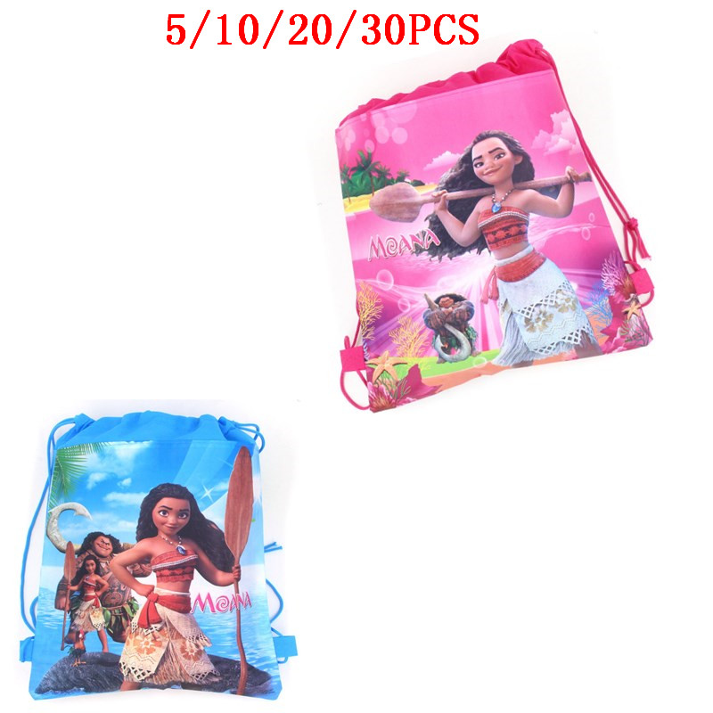 Baby Shower Party Kid Favors Disney Moana Princess Non-woven Fabrics Mochila Birthday Decoration Drawstring Pink Blue Gifts Bags