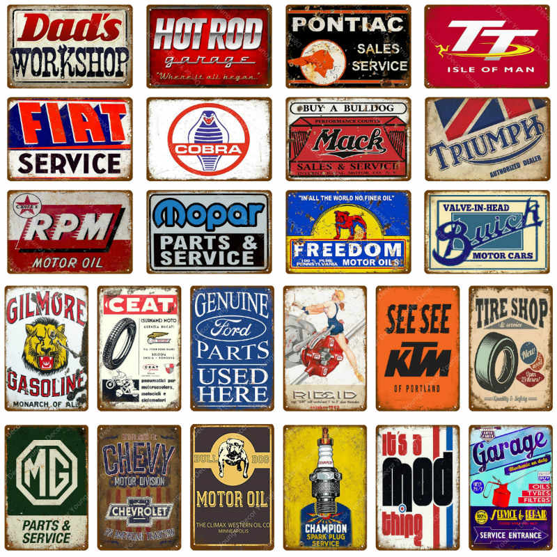 Motor Öl Plaque Vintage Metall Platten Auto Dekorative Zeichen Benzin Wand Aufkleber Reifen Shop Metall Poster Garage Dekor YH012