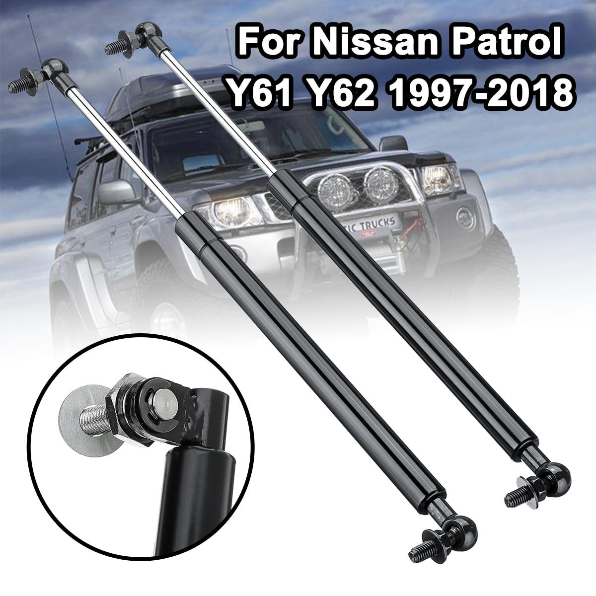 1 par 41cm de acero capó de coche soportes de elevación de los puntales de Gas de choque barras reemplazar para Nissan Patrol Y61 Y62 1997-2018 varilla de apoyo