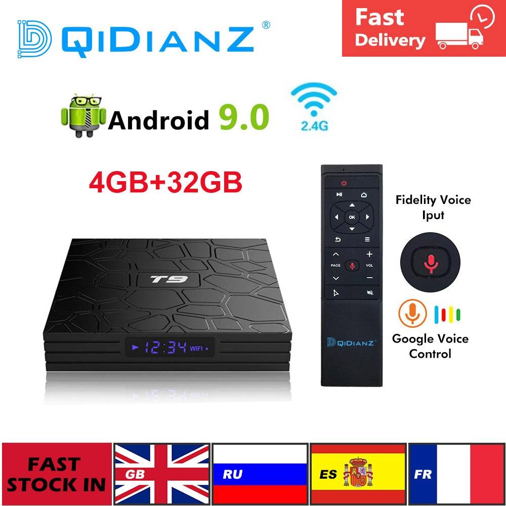 Smart TV BOX T9 Android 9.0 4GB+32GB 1080P 4K YouTube Netflix Multimedia player WIFI 2.4G Quad Core Set Top Box pk X96 hk1 h96(China)
