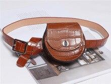 2019 Vintage Alligator Round Waist Bag Pu Leather Fanny Packs for Women Fashionable Women Belt Bag Chest Bag Female Black Red