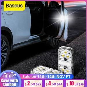 Image 1 - Baseus 2 قطعة 6 المصابيح سيارة فتح الباب تحذير ضوء السلامة المضادة للتصادم أضواء وامضة مصباح إشارة المغناطيسي اللاسلكية