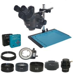 Image 1 - 38MP Hdmi Digitale Usb Microscopio Camera 3.5X 90X Simul Focal Trinoculaire Stereo Microscoop Solderen Pcb Sieraden Reparatie Kit