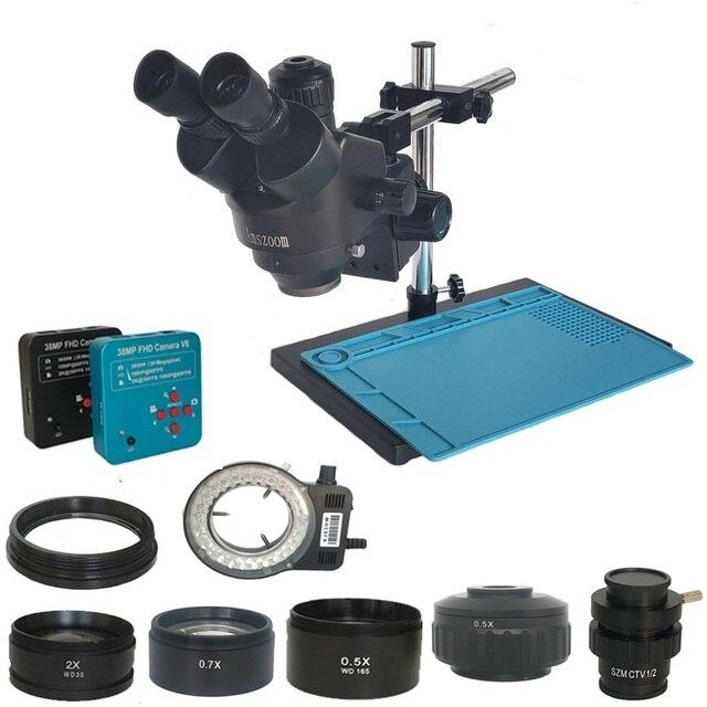 38MP Hdmi Digitale Usb Microscopio Camera 3.5X 90X Simul Focal Trinoculaire Stereo Microscoop Solderen Pcb Sieraden Reparatie Kit