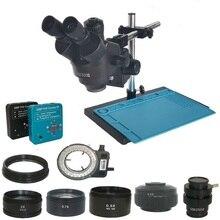 38MP hdmiデジタルusb microscopioカメラ3.5X 90Xサイマル 焦点三眼実体顕微鏡はんだpcbジュエリー修理キット