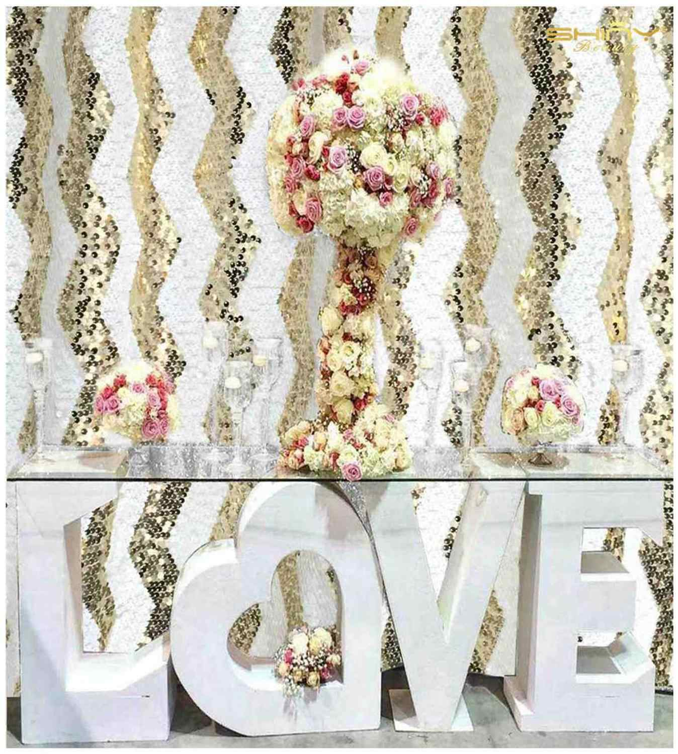 Shinybeauty photo booth pano de fundo ouro chevron casamento brilho cortinas festa Backdrops-M190727