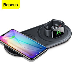 Baseus Portable Qi Wireless Charger Stand For Apple Watch 5 4 3 2 Airpods Pro 10W Fast Wireless Charging Pad For iPhone Xiaomi