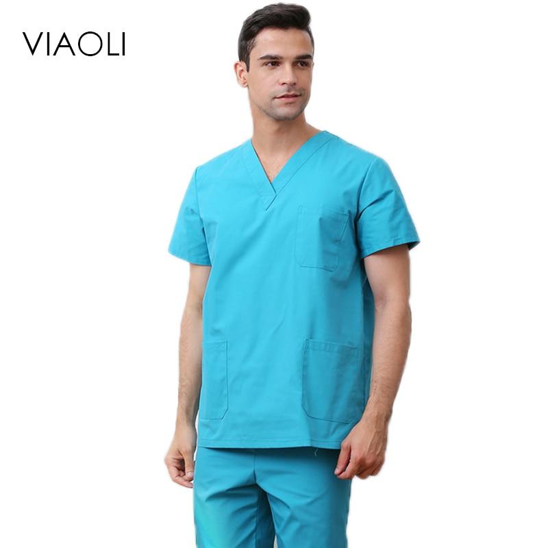 Viaoli Hospital Men Medical Nursing Scrubs Clothes Dental Lab Coat Surgical Suit Medical-clothing Medical Sets Pharmacy Uniforms