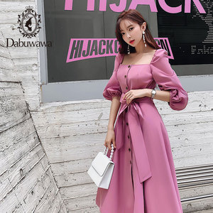 Image 3 - Dabuwawa Elegant Vintage Women Dress Early Autumn  Puff Sleeve Square Neck Ruffles Pink Dresses Casual Long Dress DN1CDR053
