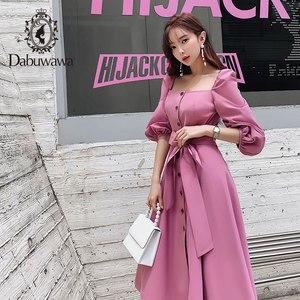 Image 3 - Dabuwawa Mulheres Do Vintage e Elegante Vestido No Início do Outono Puff Luva Praça Neck Ruffles Rosa Vestidos Casuais Vestido Longo DN1CDR053