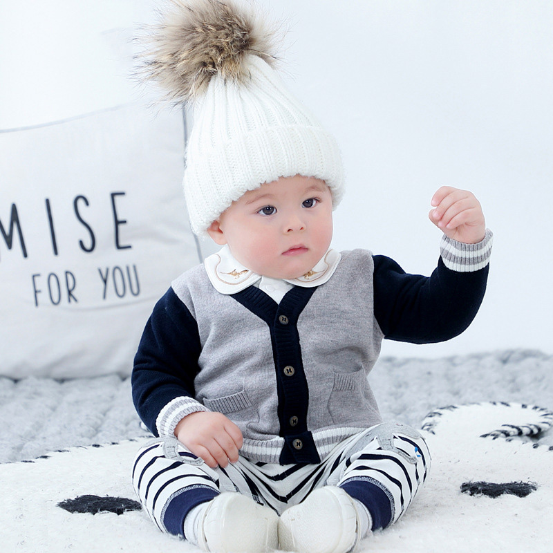 Spring and Autumn New 6-36M Baby Boys Long Sleeve Soft Sweater Infant Solid Color Single-breasted Knitted Coat Child Clothes