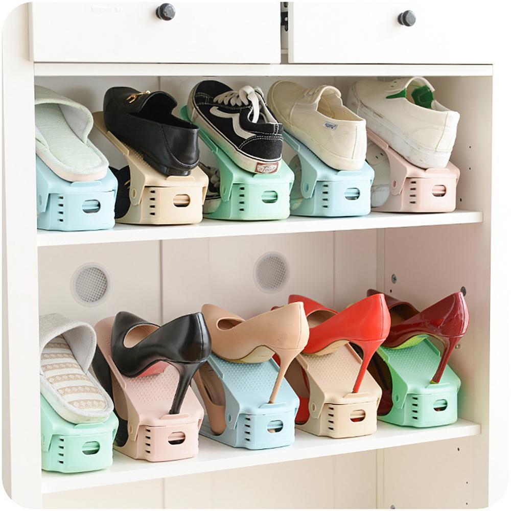 1 10pc durable reglable chaussure organisateur etagere chaussures support fente gain de place armoire placard support chaussures etagere de rangement