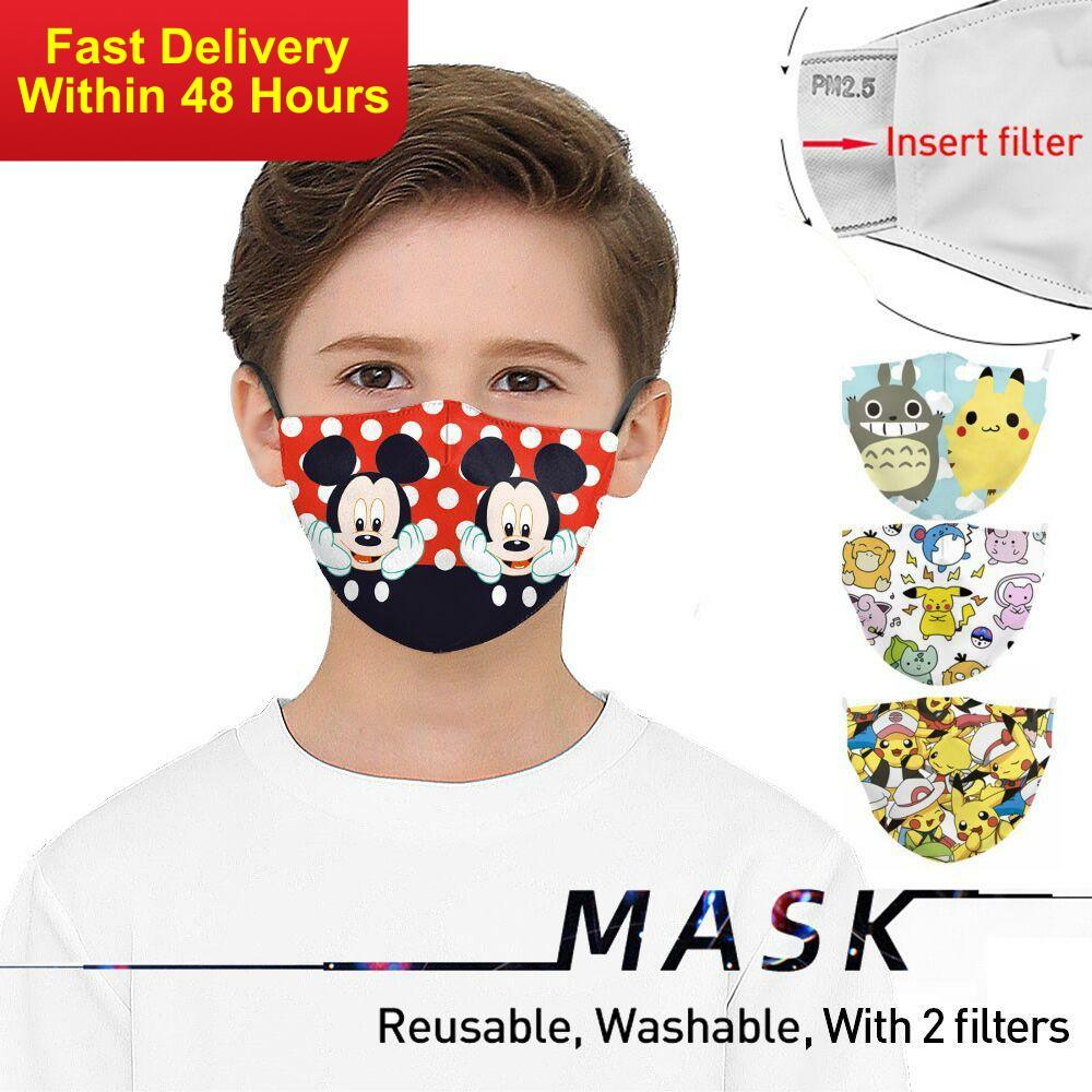 Zawaland Kids Cute Cartoon Face Mask Washable Anime Totoro Print Mouth Mask Children Anti-pollution Masks With 2 Filters