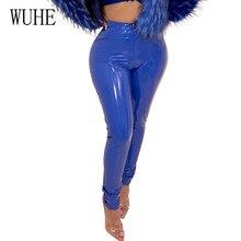 WUHE Autumn Womens Leather Pants High Elastic Plus Velvet Thick PU Trousers Women Skinny Stretch Pencil Pantalons
