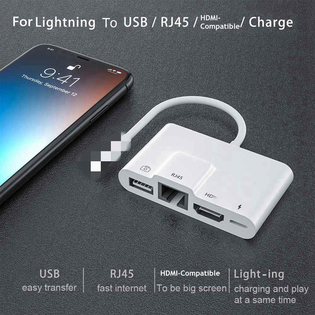 USB OTG Adapter For Lightning to USB Camera RJ45 HDMI compatible Adapter with Charging Port Converter For iPhone/iPad Adapter