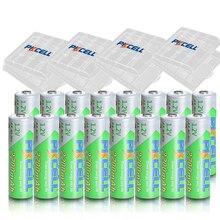16 pièces * PKCELL AA 1.2 V 2200mAh Ni MH Batteries rechargeables 1.2 volts 2A faible autodécharge Baterias Bateria + 4 pièces boîtes de batterie