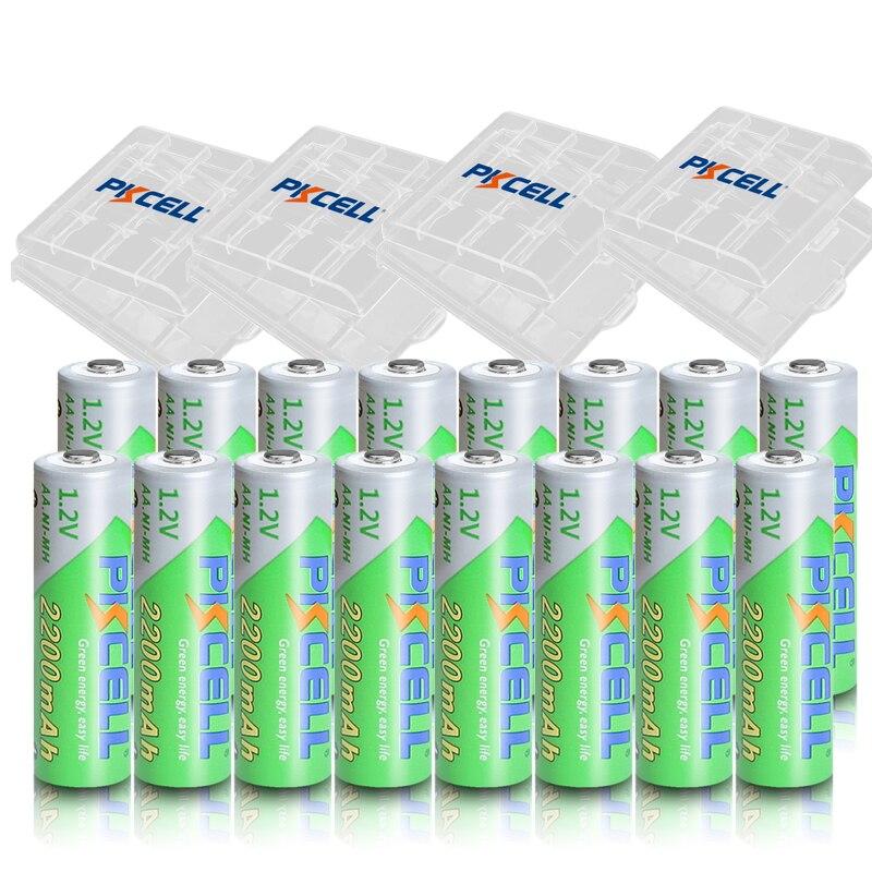 Аккумуляторные батареи PKCELL 16 шт., AA, 1,2 в, 2200 мАч, Ni-MH, 1,2 в, 2 А, низкий саморазряд + 4 шт.