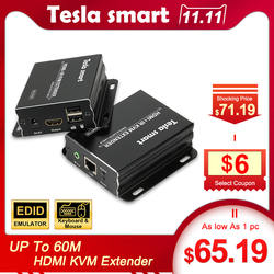 Tesla smart KVM Extender Высокое качество 60 м USB HDMI IR по CAT5e/6 (1 Extender TX + 1 Extender RX)