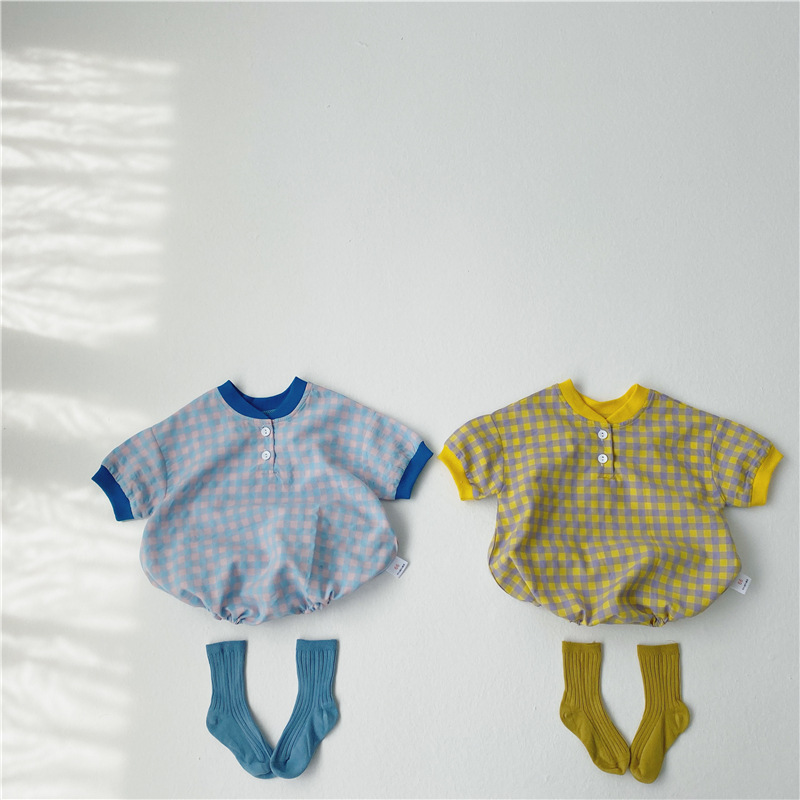 MILANCEL 2020 Summer Baby Boys Clothes Palid  Baby Girls Clothes Plaid Infant Girls Bodysuits Little Boys Outfit