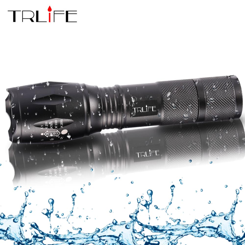 L2 Tactical Led Flashlight Ultra Bright  T6  Torch Camping Light 5 Switch Modes Zoomable Hiking Light 18650 Battery Light