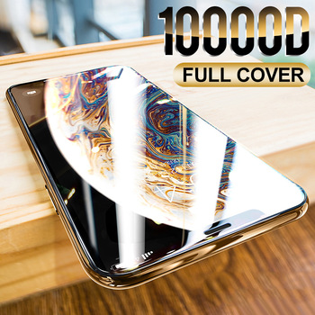 10000D Curved Full Cover Protective Glass On For iPhone 12 11 Pro X XR XS Max Tempered Screen Protector iPhone 7 8 6S Plus Glass 1