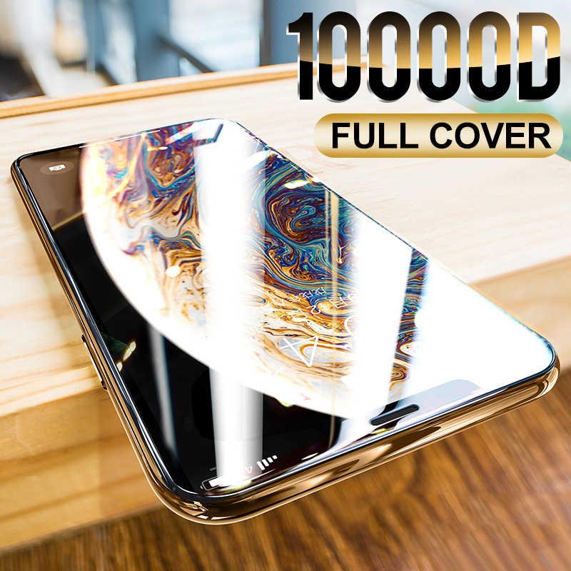 10000D منحني غطاء كامل واقية الزجاج على آيفون 12 11 برو X XR XS ماكس الزجاج المقسى حامي الشاشة آيفون 7 8 6S زائد الزجاج