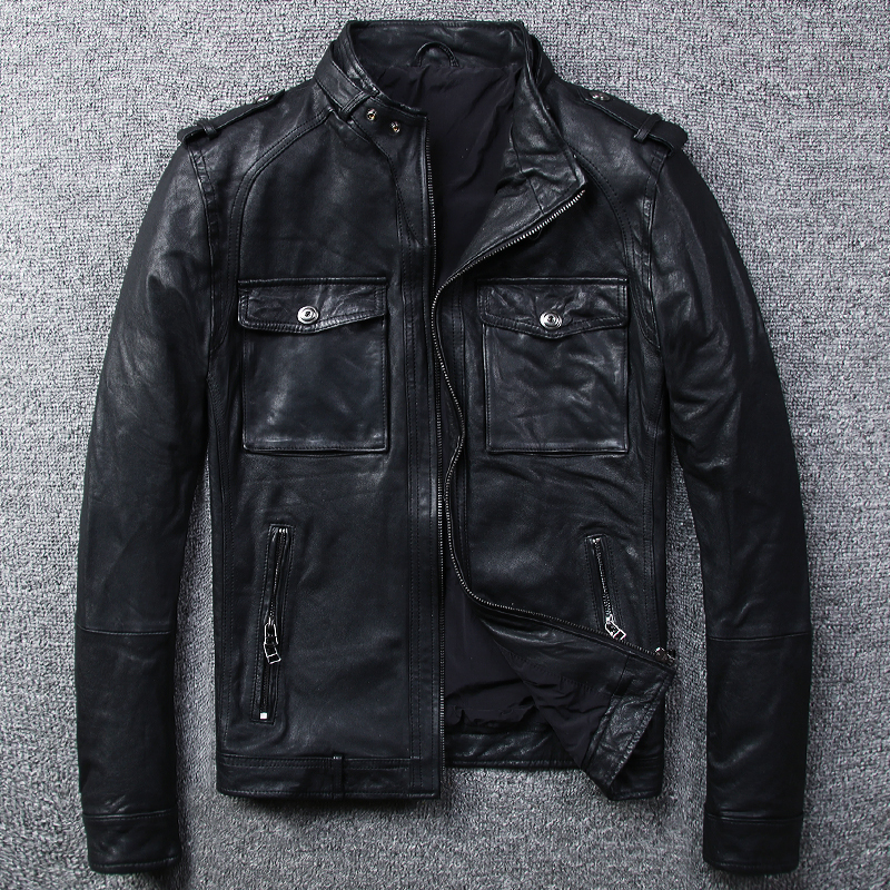 Genuine Leather Jacket Men Casual Real Sheepskin Coat Motorcycle Jacket Man Bomber Chaqueta Cuero Hombre 9816 KJ1928