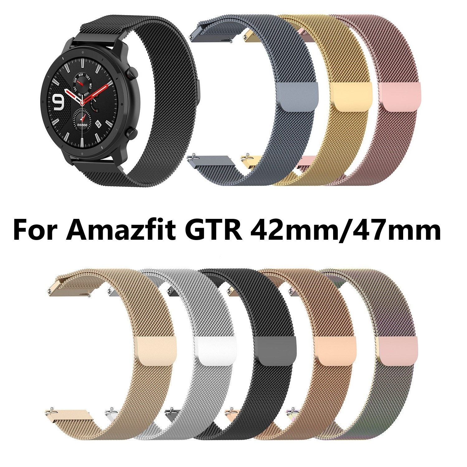 Luxurious Replacement Strap Milanese Stainless Steel Watch Band  Mesh Watchband For Amazfit GTR 42mm 47mm Metal  Wristband