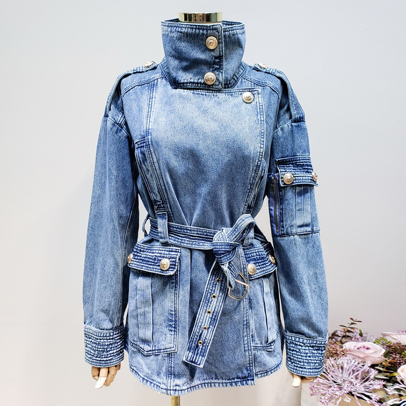 HIGH QUALITY New Fashion 2019 Designer Jacket Women's Lacing Belt Embossed Lion Buttons Denim Jacket