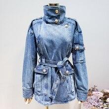 HIGH QUALITY New Fashion 2020 Designer Jacket Womens Lacing Belt Embossed Lion Buttons Denim Jacket