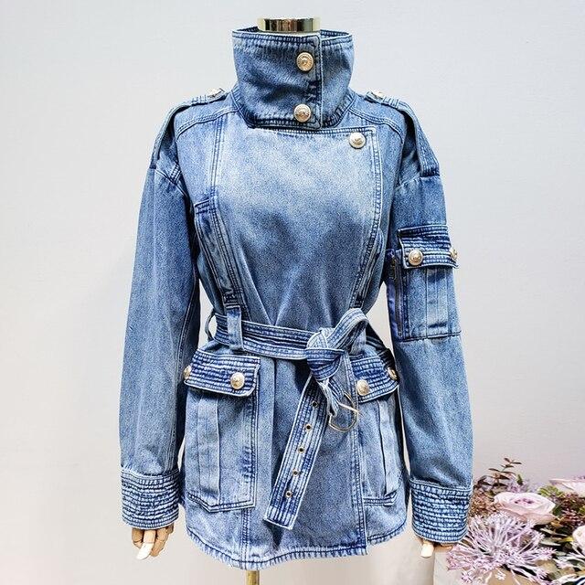 Haute qualité nouvelle mode 2020 veste de créateur femmes laçage ceinture en relief Lion boutons Denim veste