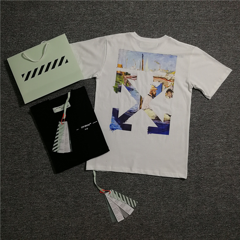 Ow 19ss Hand-Painted White Popular Brand Off Forrest Gump Avatar High-definition Oil Painting Cotton T-shirt Crew Neck Short Sle