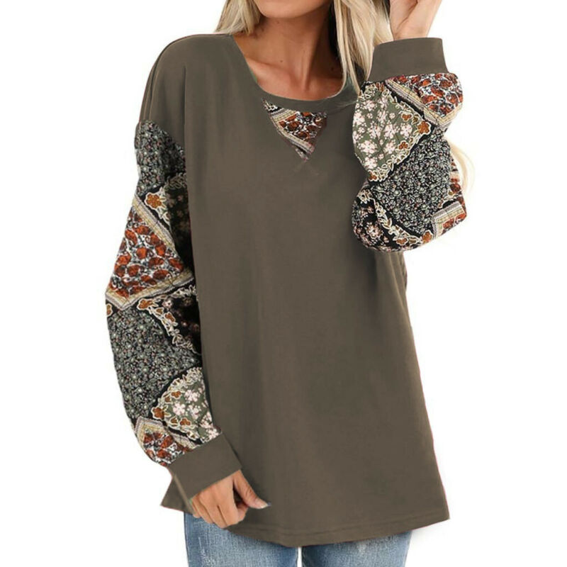 T Lantern Tops Oversize V-Neck Sleeve Women Long US thin Blouse Floral Shirt