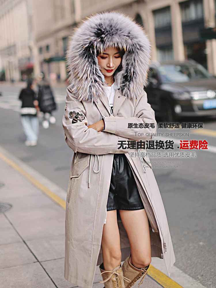 Jacket Winter 2020 Women Real Rabbit Fur Liner Parka Women Real Fur Coat Female Raccoon Fur Collar Long Jackets MY4181 S