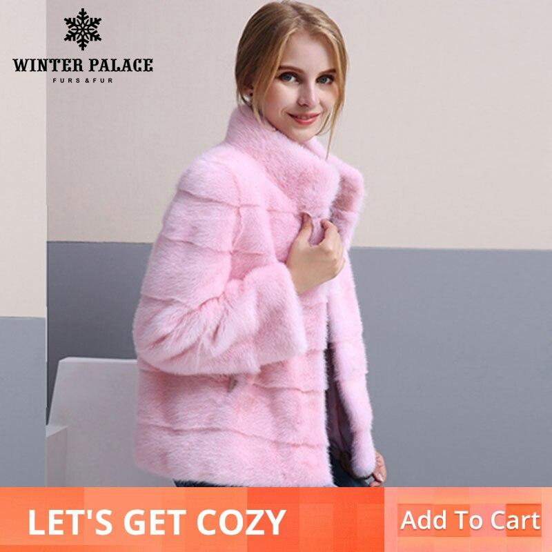 2018 inverno Nuovo stile cappotto di pelliccia naturale visone cappotto di pelliccia di visone del Collare del basamento di buona qualità 65 centimetri lunghi cappotti di pelliccia di Modo Sottile Pelliccia