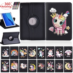 Вращающийся на 360 градусов чехол для планшета Huawei MediaPad T3 10 9,6 дюйма/T5 10 10,1 дюйма, защитный чехол с милым единорогом и бесплатным стилусом