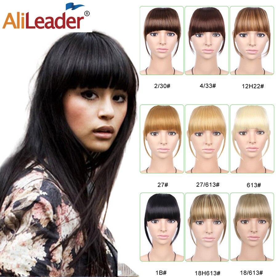 Alileader Short Clip In Hair Bangs Heat Resistant Synthetic Hair Women Natural Short Fake Hair Bangs Women Hair Pieces