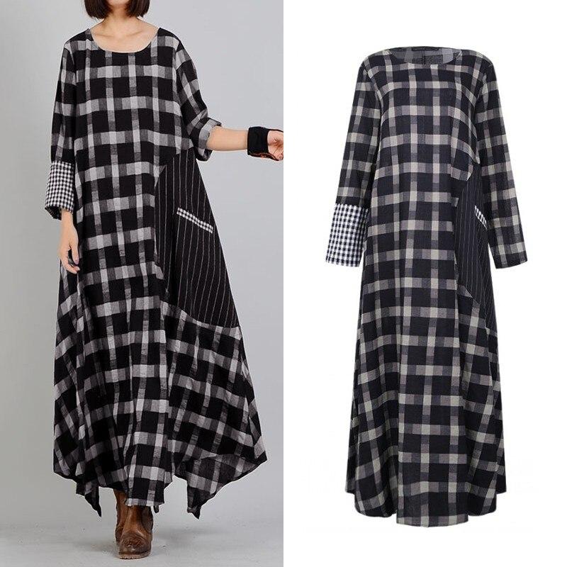 Женское клетчатое платье в стиле пэчворк, винтажный клетчатый сарафан, весна, длинный рукав, макси Vestidos, женская рубашка в полоску, халат, большие размеры|Платья|   | АлиЭкспресс